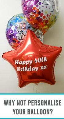 Persanalisation available on all Helium Filled Balloon in Box Gifts.